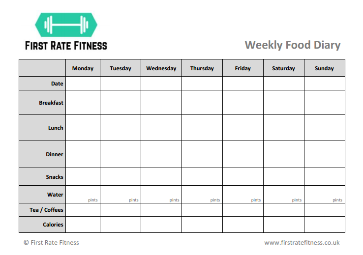 First Rate Fitness Food Diary Download - Thumbnail